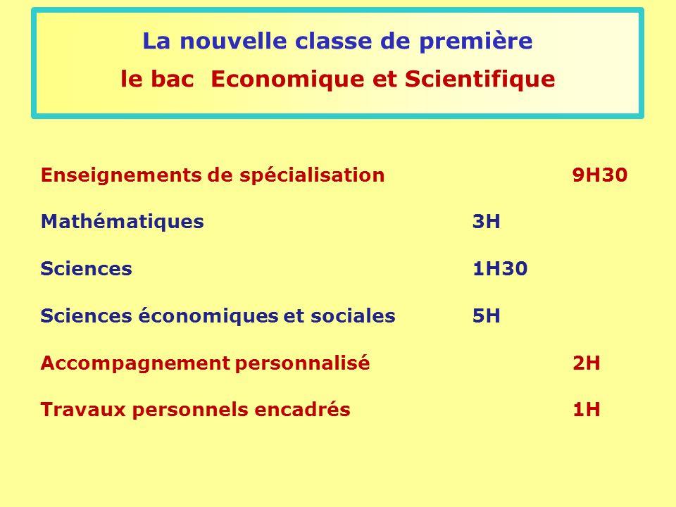 La nouvelle classe de première le bac Economique et Scientifique