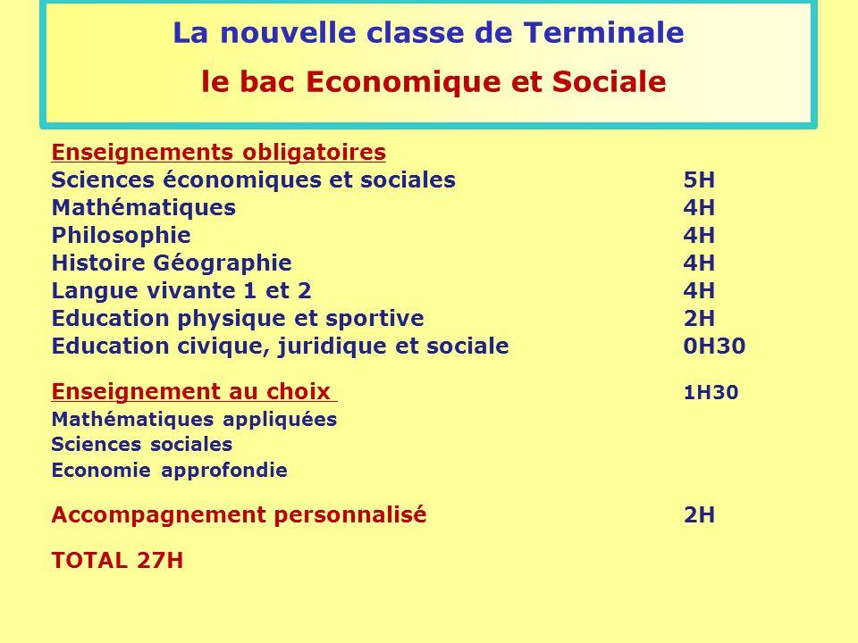 La nouvelle classe de Terminale le bac Economique et Sociale