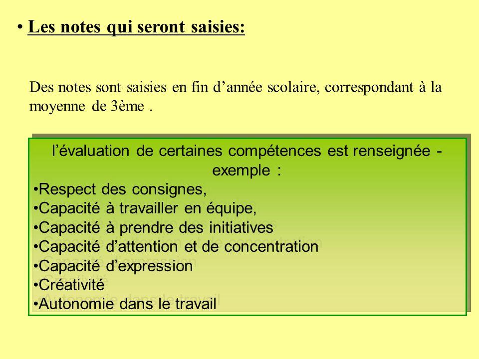 l'évaluation de certaines compétences est renseignée - exemple :