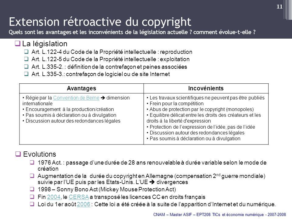 Extension rétroactive du copyright Quels sont les avantages et les inconvénients de la législation actuelle comment évolue-t-elle