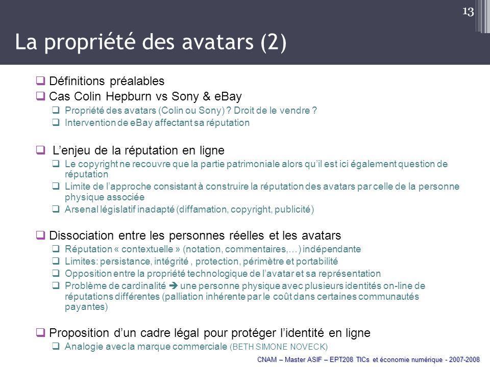 La propriété des avatars (2)