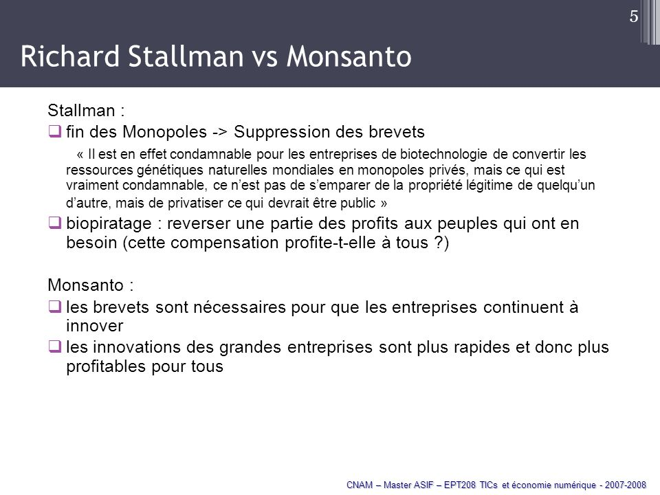 Richard Stallman vs Monsanto