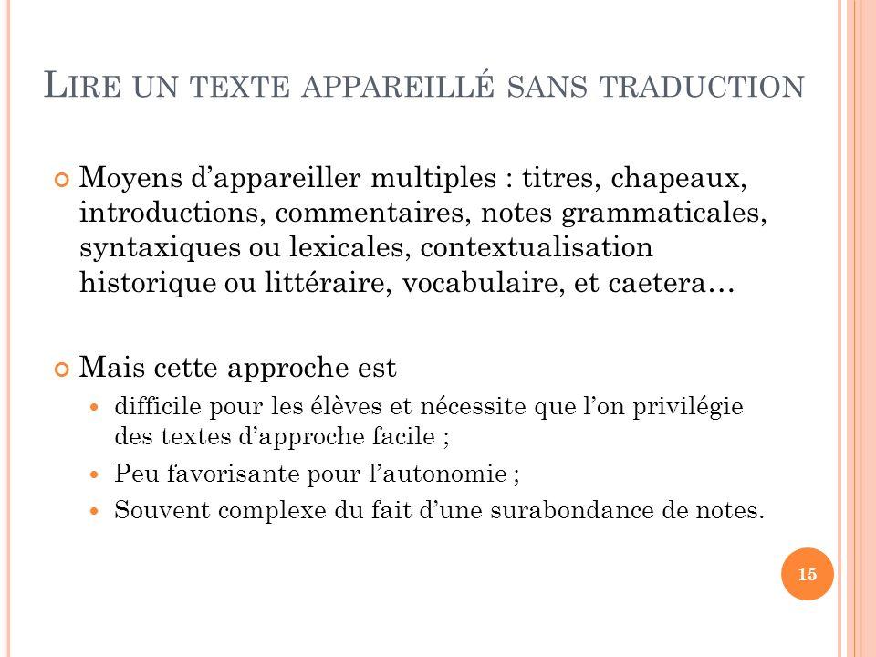 Lire un texte appareillé sans traduction