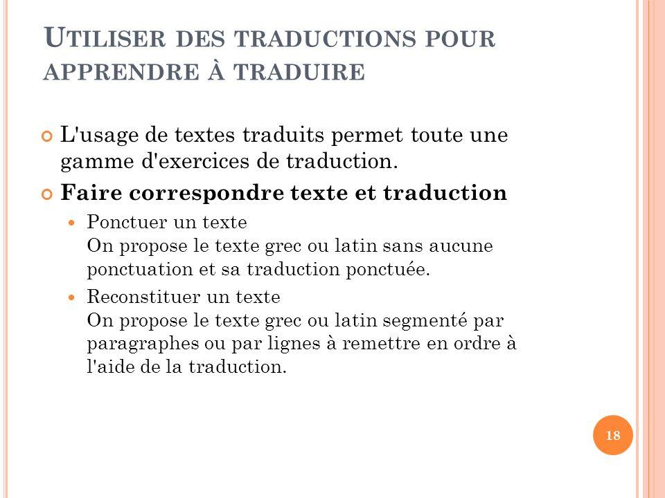 Utiliser des traductions pour apprendre à traduire