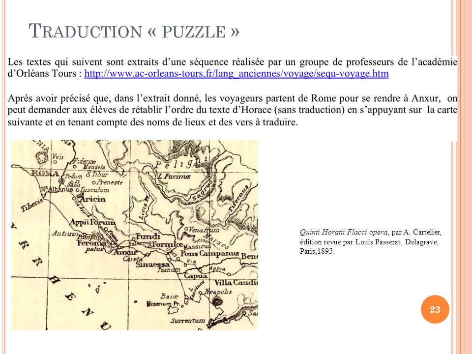 Traduction « puzzle »Quinti Horatii Flacci opera, par A.