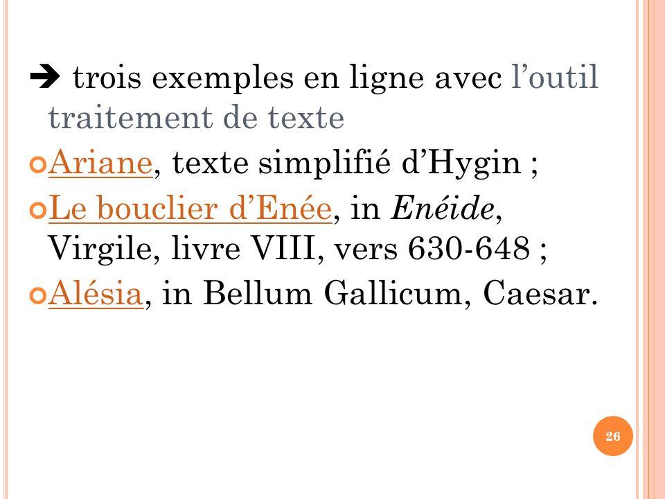  trois exemples en ligne avec l'outil traitement de texte