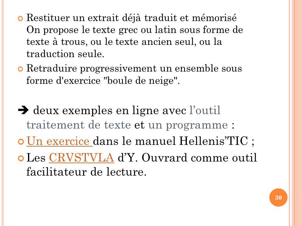 Un exercice dans le manuel Hellenis'TIC ;