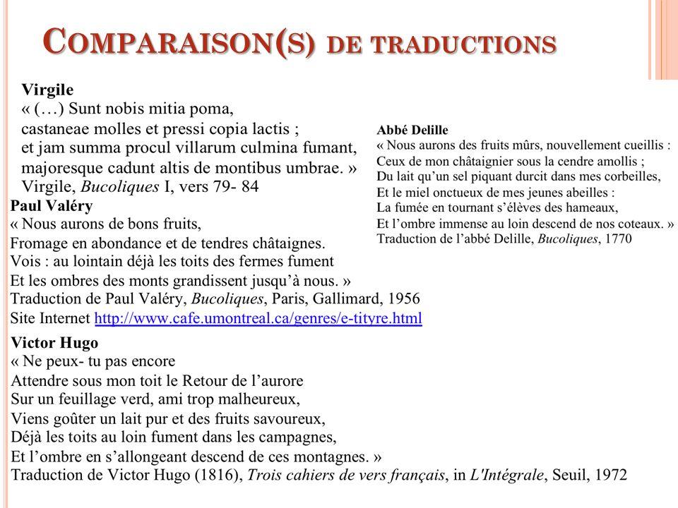 Comparaison(s) de traductions