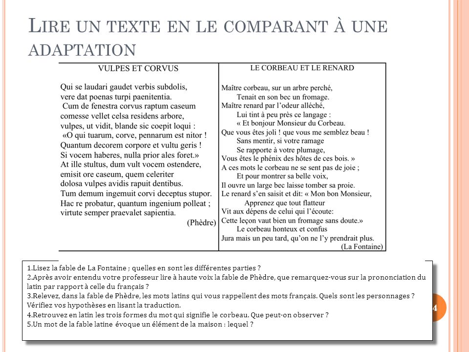 Lire un texte en le comparant à une adaptation