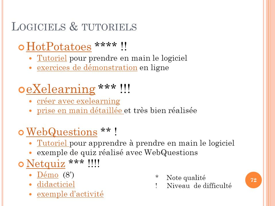 eXelearning *** !!! Logiciels & tutoriels HotPotatoes **** !!