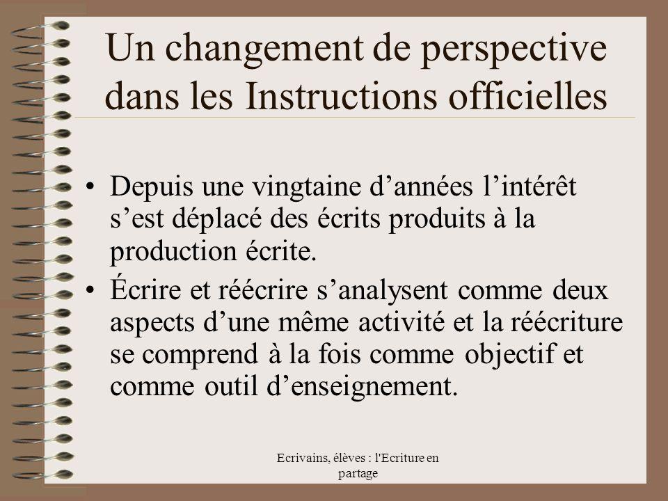 Un changement de perspective dans les Instructions officielles