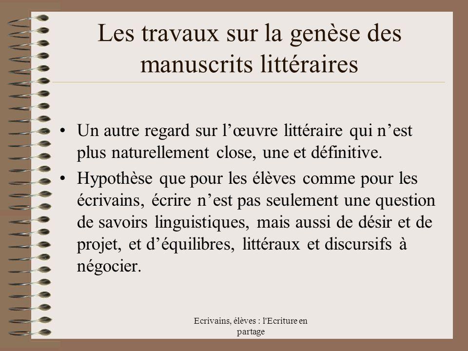 Les travaux sur la genèse des manuscrits littéraires
