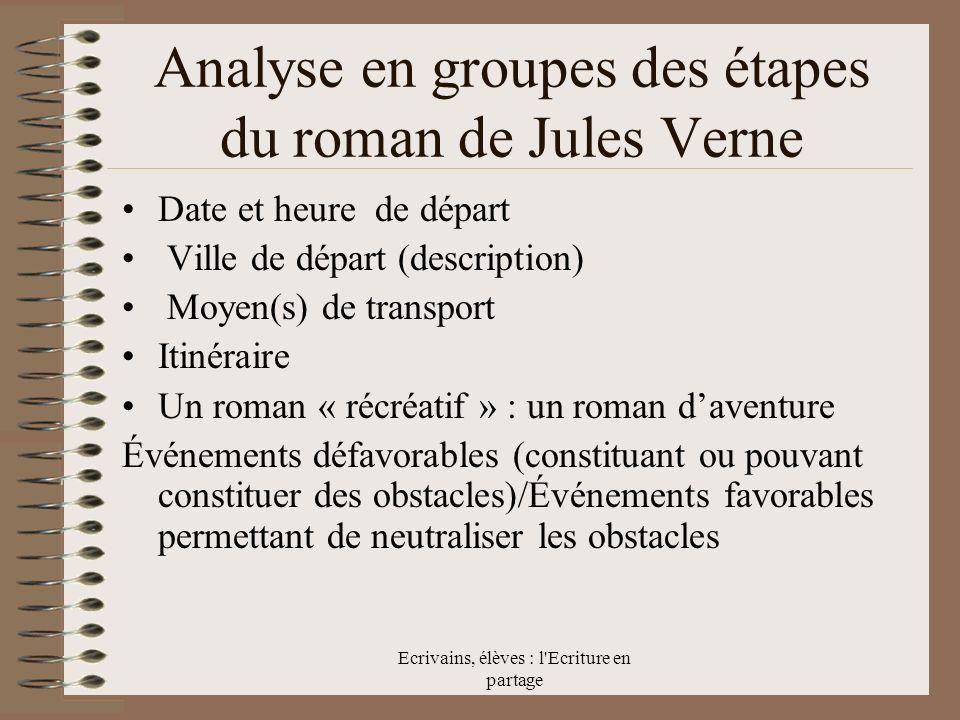 Analyse en groupes des étapes du roman de Jules Verne