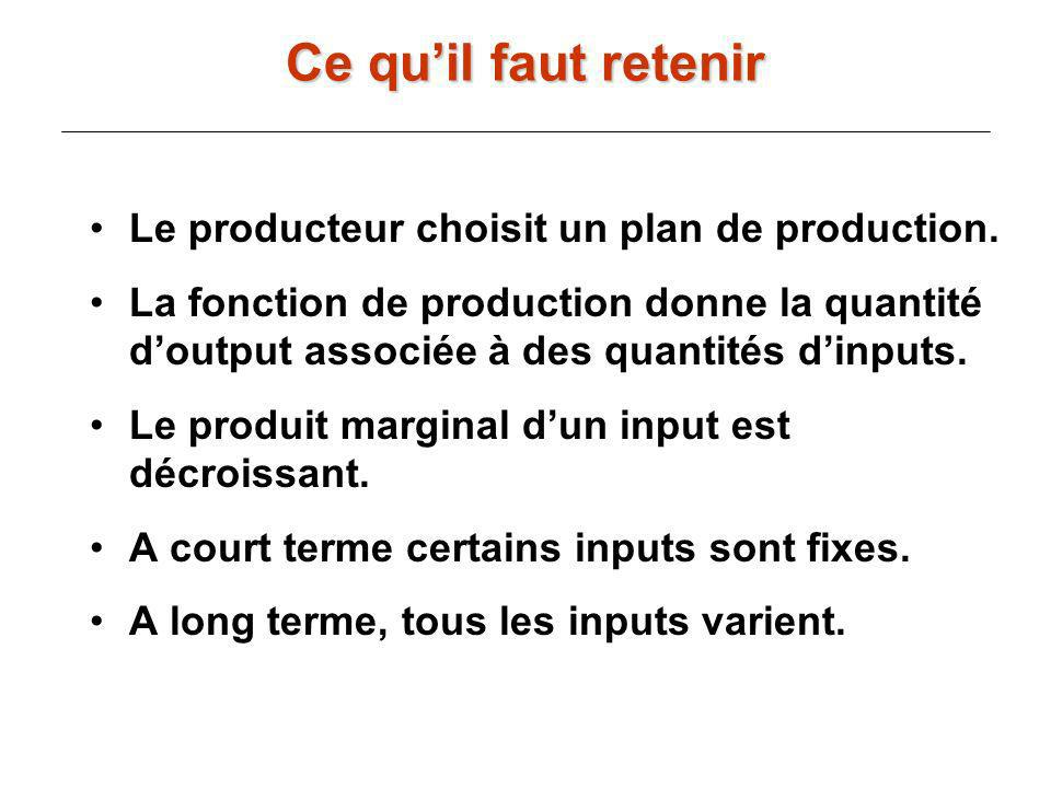 Ce qu'il faut retenir Le producteur choisit un plan de production.