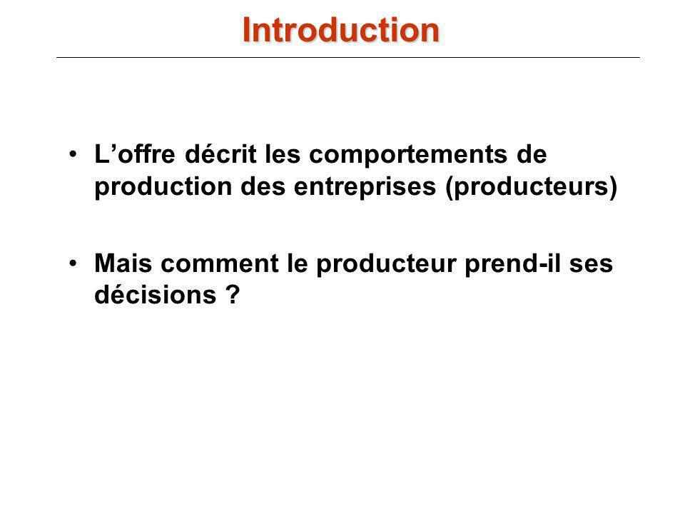 Introduction L'offre décrit les comportements de production des entreprises (producteurs) Mais comment le producteur prend-il ses décisions
