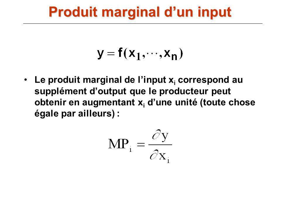 Produit marginal d'un input