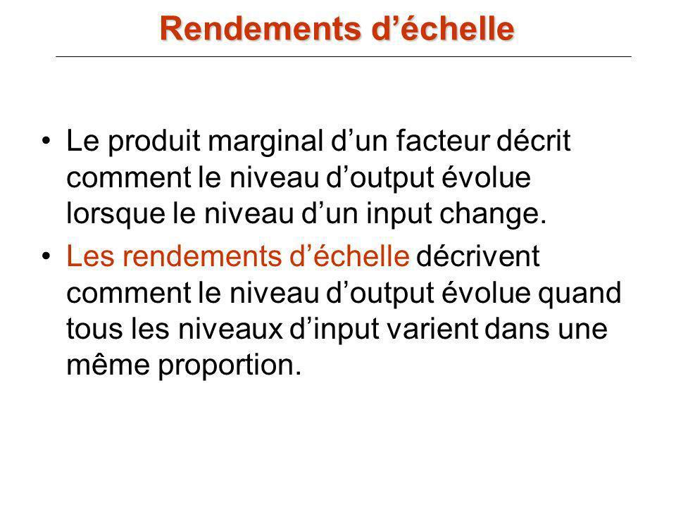 Rendements d'échelle Le produit marginal d'un facteur décrit comment le niveau d'output évolue lorsque le niveau d'un input change.