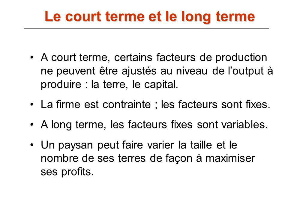 Le court terme et le long terme