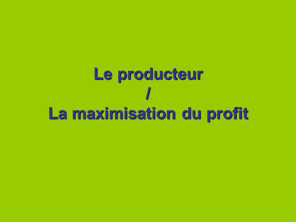 Le producteur / La maximisation du profit