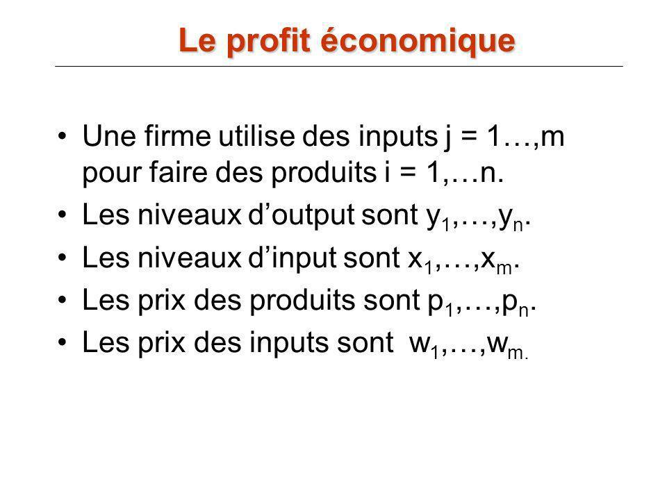 Le profit économique Une firme utilise des inputs j = 1…,m pour faire des produits i = 1,…n. Les niveaux d'output sont y1,…,yn.