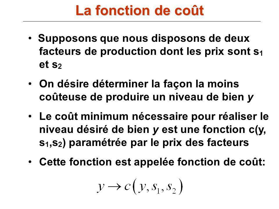 La fonction de coût Supposons que nous disposons de deux facteurs de production dont les prix sont s1 et s2.