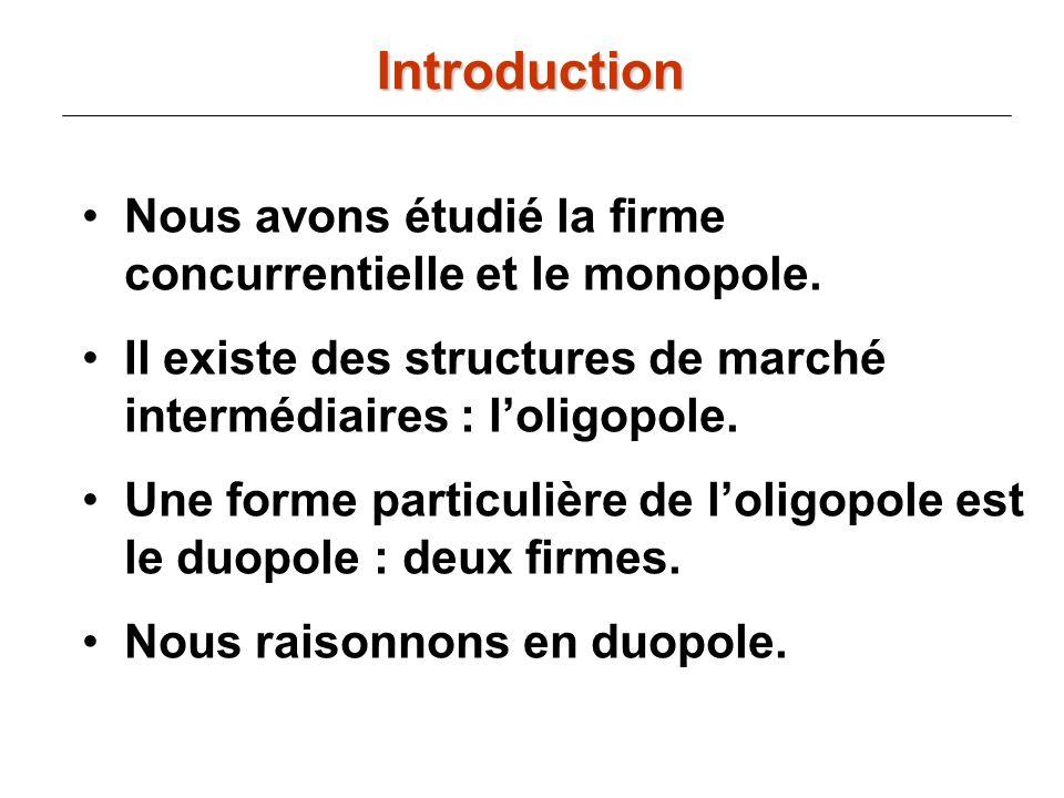 IntroductionNous avons étudié la firme concurrentielle et le monopole. Il existe des structures de marché intermédiaires : l'oligopole.