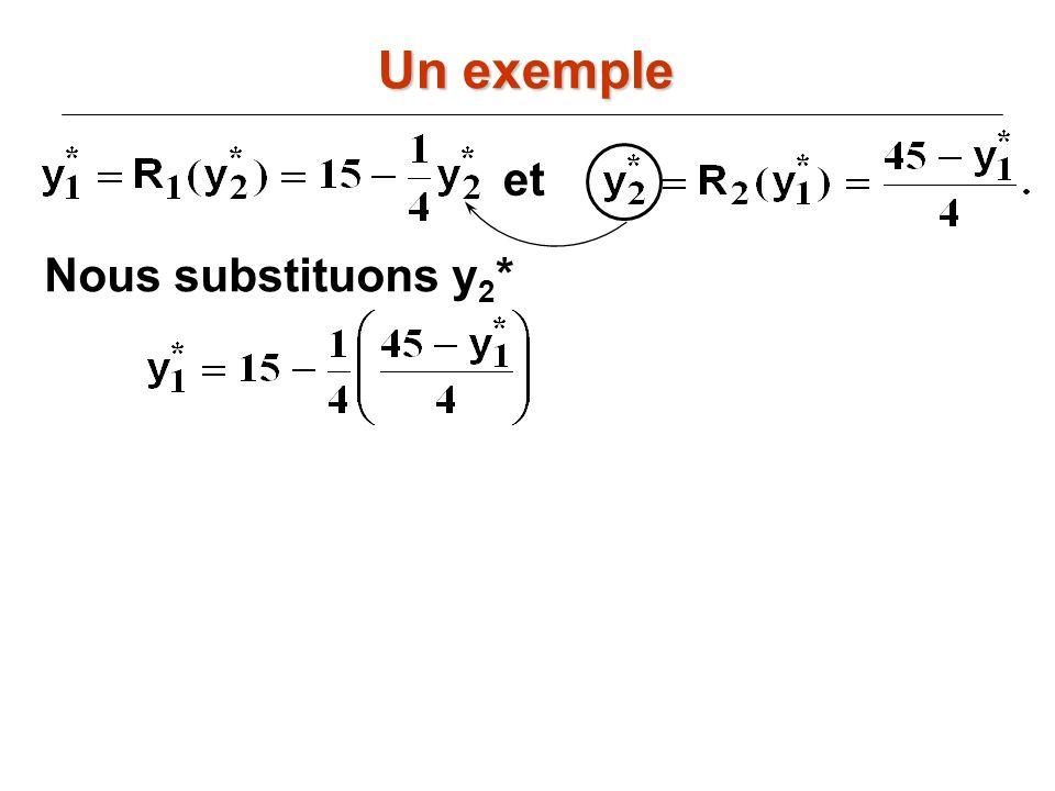Un exemple et Nous substituons y2*