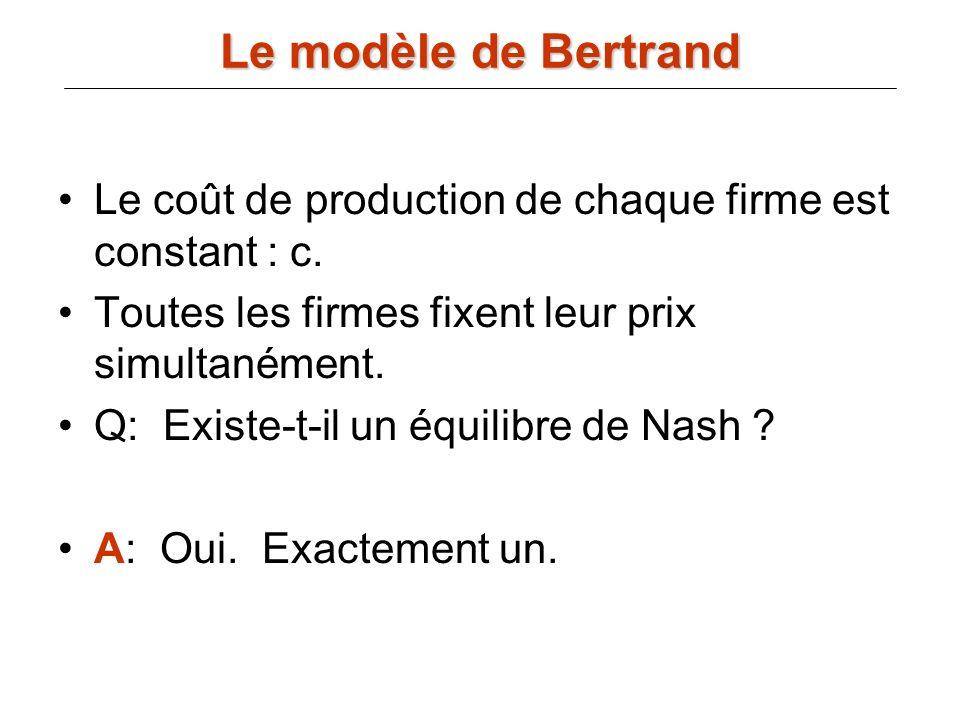 Le modèle de BertrandLe coût de production de chaque firme est constant : c. Toutes les firmes fixent leur prix simultanément.