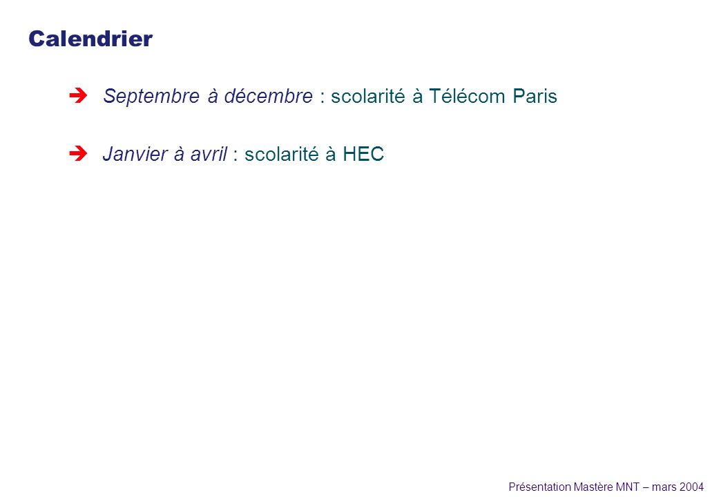 Calendrier Septembre à décembre : scolarité à Télécom Paris