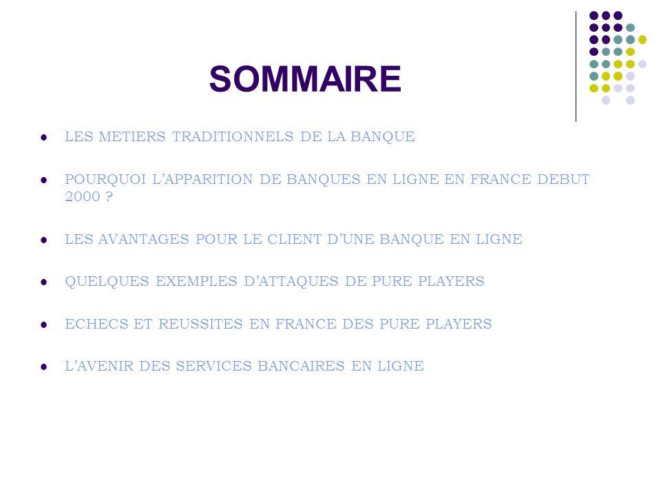 SOMMAIRE LES METIERS TRADITIONNELS DE LA BANQUE