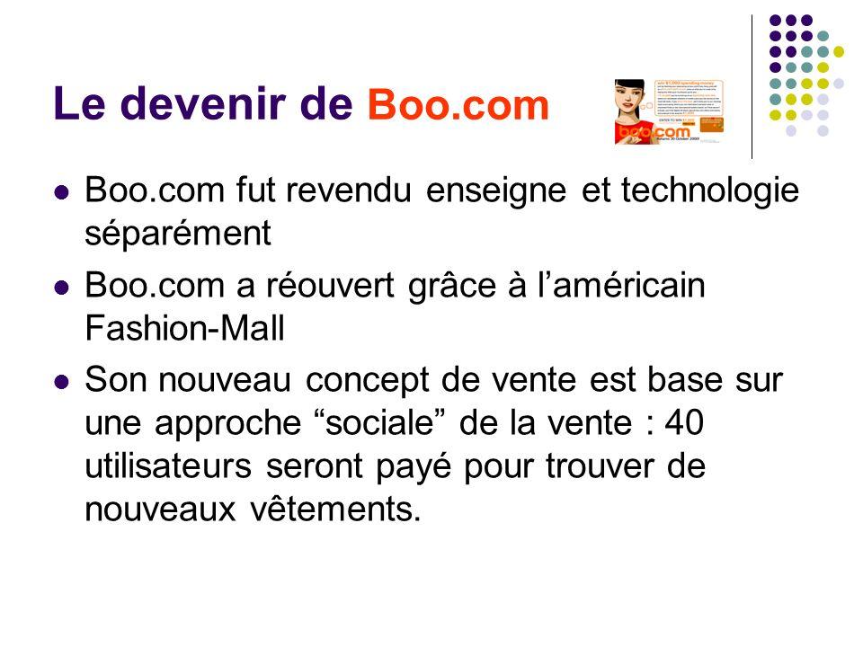 Le devenir de Boo.com Boo.com fut revendu enseigne et technologie séparément. Boo.com a réouvert grâce à l'américain Fashion-Mall.