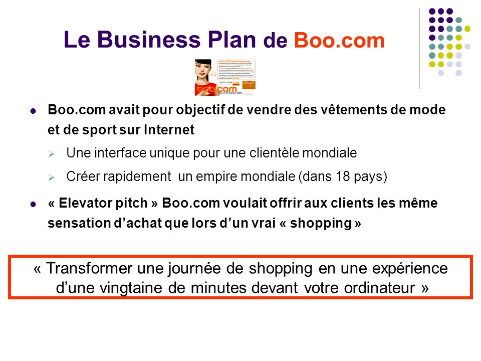 Le Business Plan de Boo.com