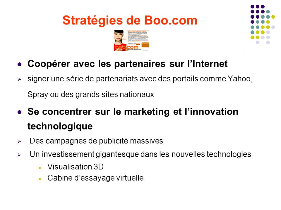 Stratégies de Boo.com Coopérer avec les partenaires sur l'Internet
