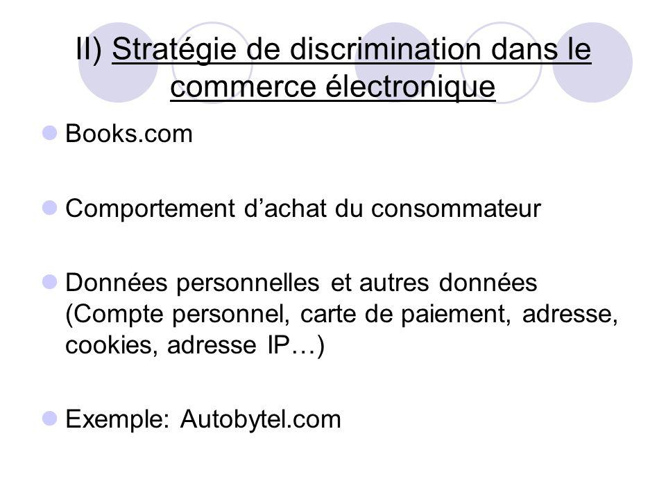 II) Stratégie de discrimination dans le commerce électronique