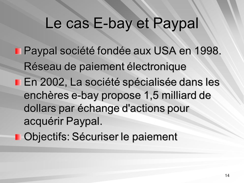 Le cas E-bay et Paypal Paypal société fondée aux USA en 1998.