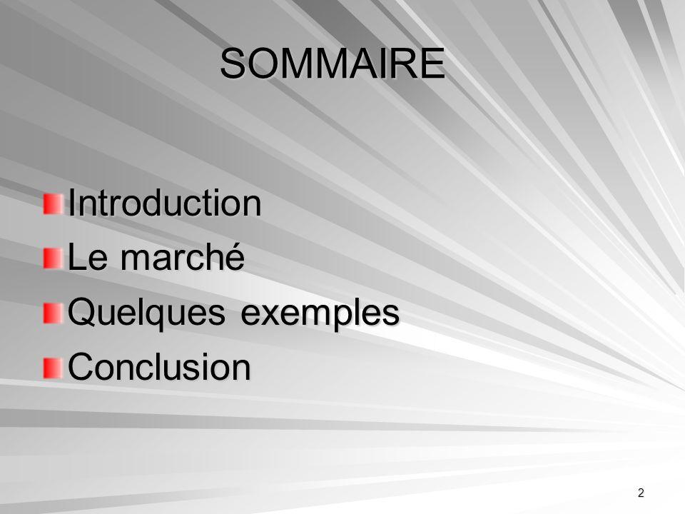 SOMMAIRE Introduction Le marché Quelques exemples Conclusion
