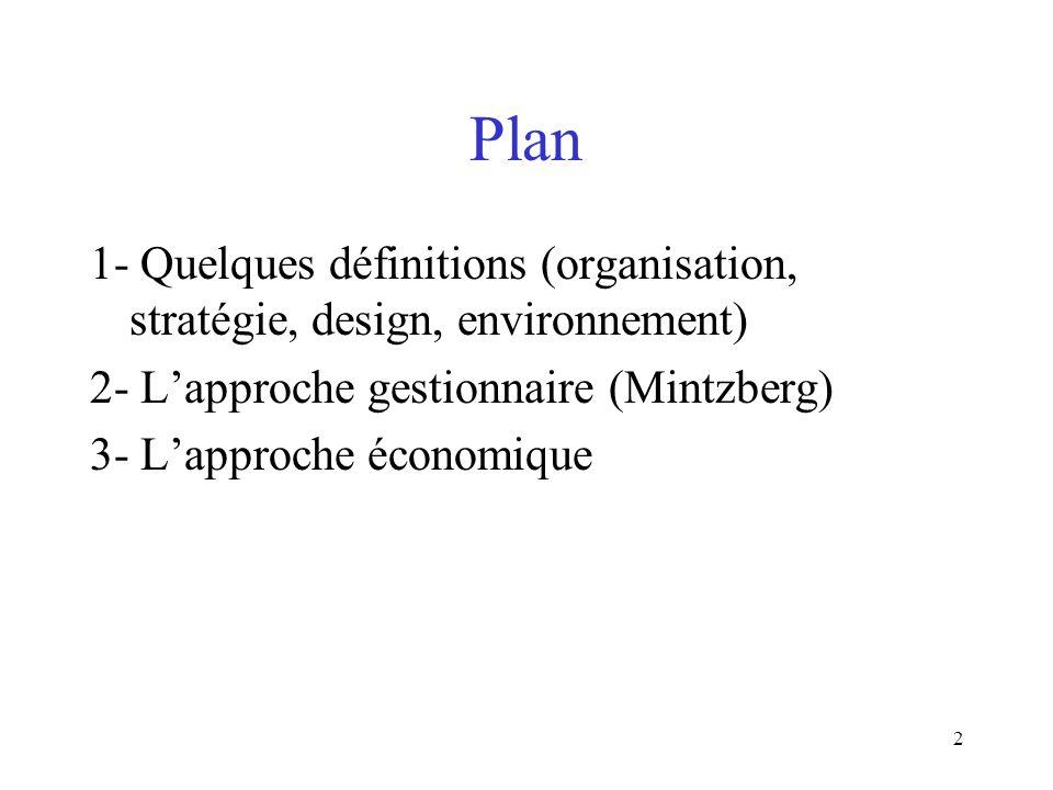 Plan 1- Quelques définitions (organisation, stratégie, design, environnement) 2- L'approche gestionnaire (Mintzberg)