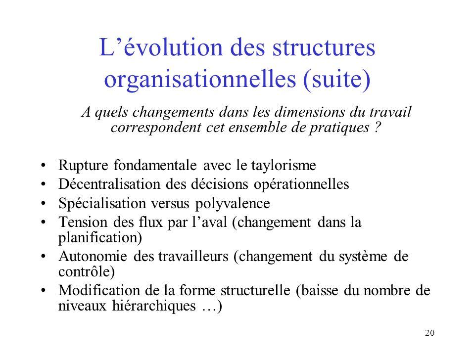 L'évolution des structures organisationnelles (suite)