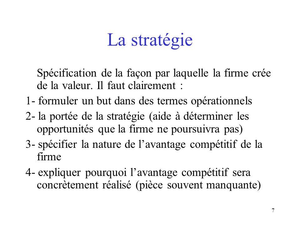 La stratégie Spécification de la façon par laquelle la firme crée de la valeur. Il faut clairement :