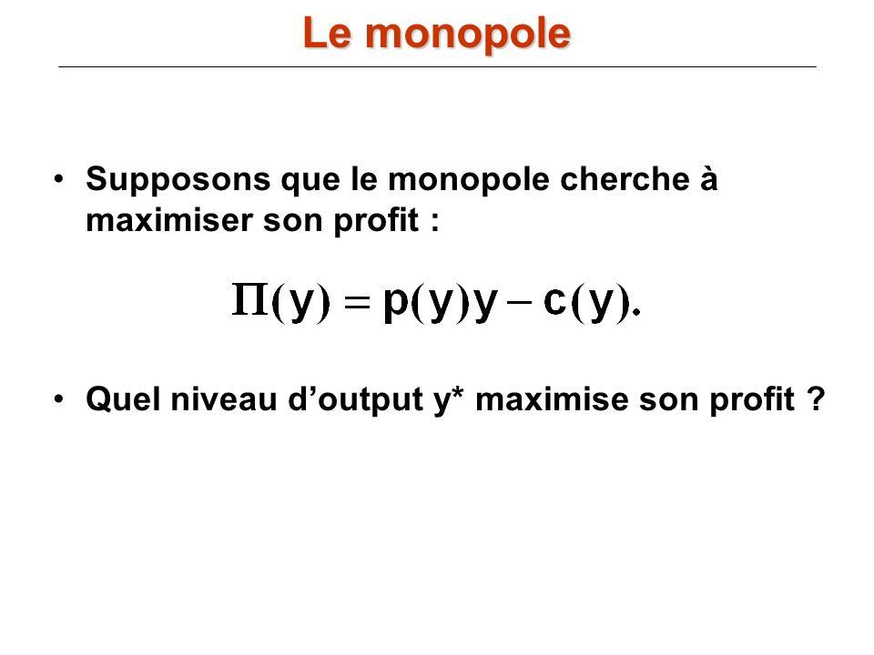 Le monopole Supposons que le monopole cherche à maximiser son profit :