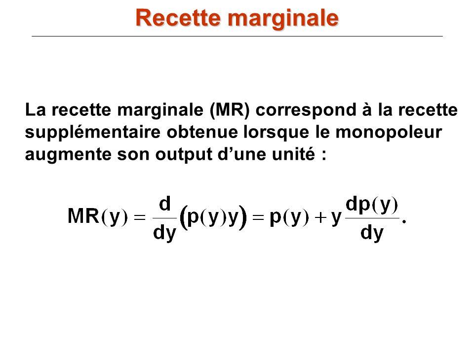 Recette marginale La recette marginale (MR) correspond à la recette supplémentaire obtenue lorsque le monopoleur augmente son output d'une unité :