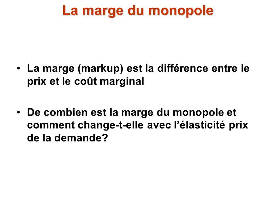 La marge du monopole La marge (markup) est la différence entre le prix et le coût marginal.