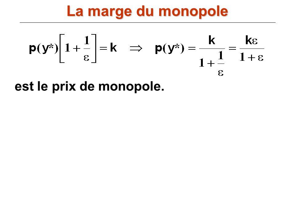 La marge du monopole est le prix de monopole.