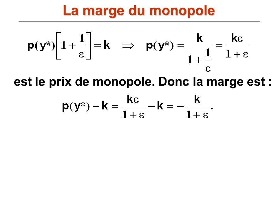La marge du monopole est le prix de monopole. Donc la marge est :