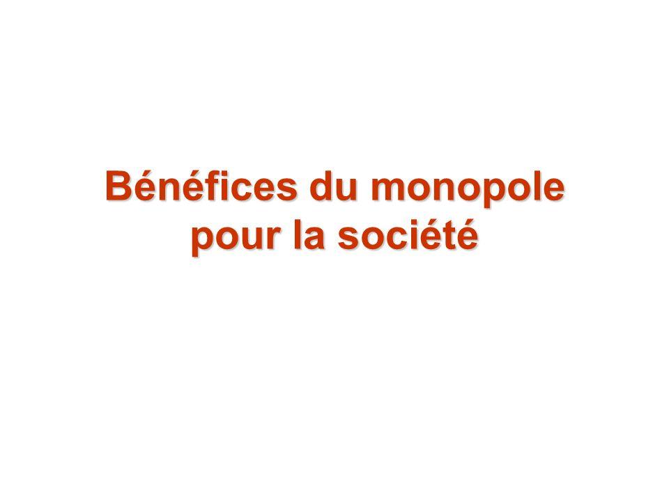 Bénéfices du monopole pour la société