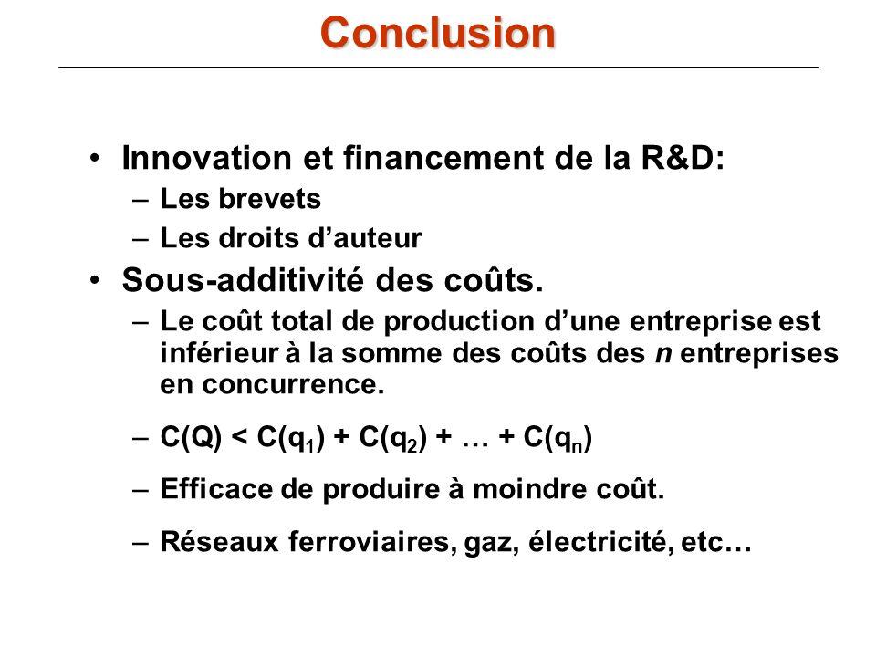 Conclusion Innovation et financement de la R&D: