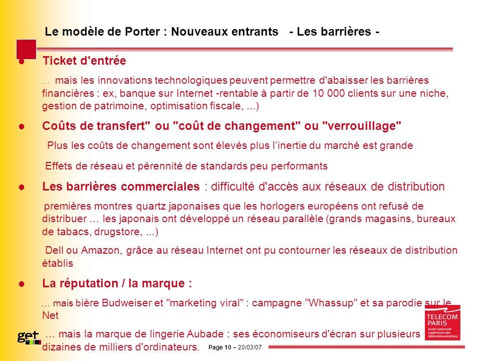 Le modèle de Porter : Nouveaux entrants - Les barrières -