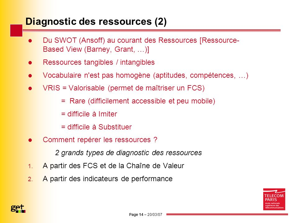 Diagnostic des ressources (2)