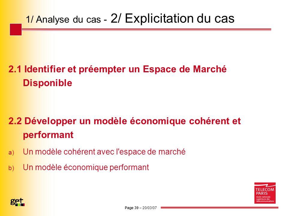 1/ Analyse du cas - 2/ Explicitation du cas