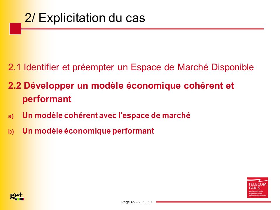 2/ Explicitation du cas 2.1 Identifier et préempter un Espace de Marché Disponible. 2.2 Développer un modèle économique cohérent et performant.